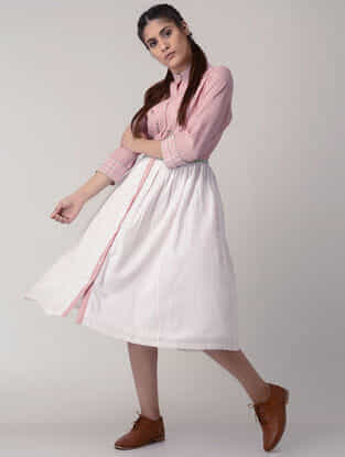 Pink-White Handwoven Gathered Organic Cotton Dress with Embroidery