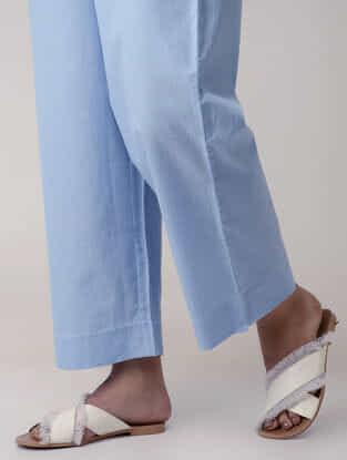 Blue Handwoven Tie-up Elasticated Waist Organic Cotton Pants