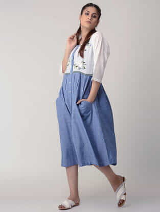 Blue Handwoven Gathered Organic Cotton Dress with Embroidery