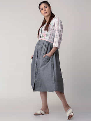 Grey Handwoven Gathered Organic Cotton Dress with Embroidery