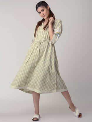 Green Tie-up Waist Handwoven Organic Cotton Dress with Embroidery