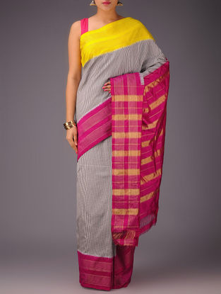Black-White Checks with Yellow-Red Ganga Jamuna Border Pochampally Ikat Silk Saree
