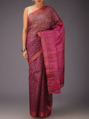 Fuschia-Red-Purple Missing Checks Pochampally Ikat Silk Saree