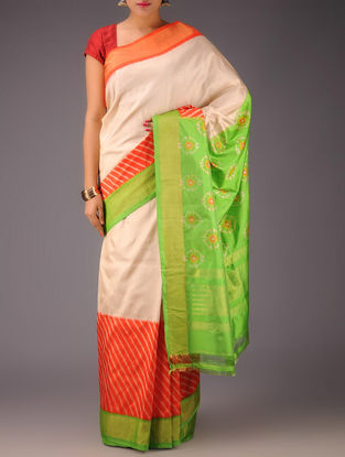 Ivory-Green-Red Pochampally Ikat Silk Saree