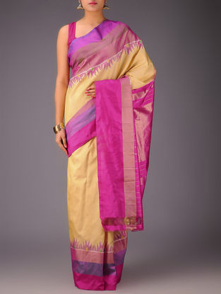 Golden-Fuschia Temple Border Pochampally Ikat Silk Saree