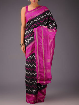 Black-Fuschia Chevron Pochampally Ikat Silk Saree
