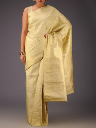 Cream-Golden Kanjivaram Silk Saree