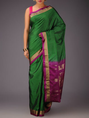 Green-Fuschia Kanjivaram Silk Saree