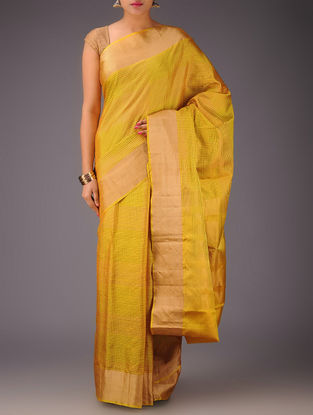 Golden Checks Kanjivaram Silk Saree