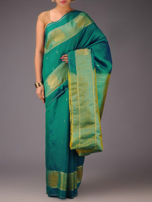 Green-Lime Lotus Motifs Kanjivaram Silk Saree