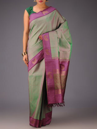 Purple Green Peacock Motifs Kanjivaram Silk Saree