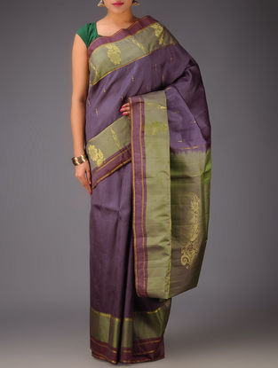 Purple Green Floral Kanjivaram Silk Saree