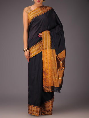 Black-Mustard Narayanpet Silk Saree