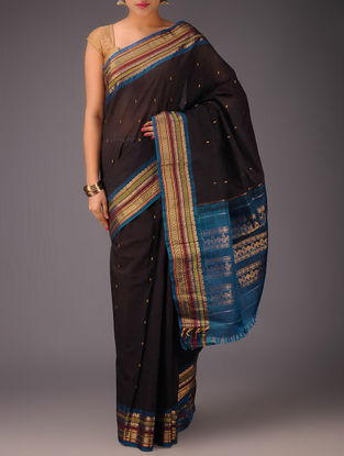 Black-Blue Cotton Body with Silk Pallu and Border Gadwal Saree