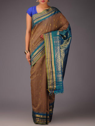 Mustard-Blue Checks Gadwal Silk Saree