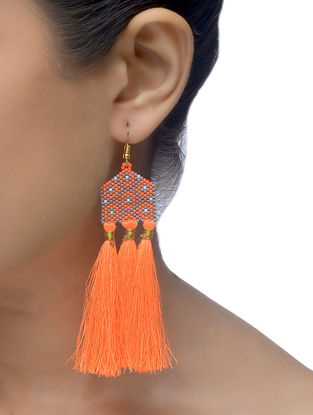 Orange-Grey Glass Beaded Earrings with Tassels
