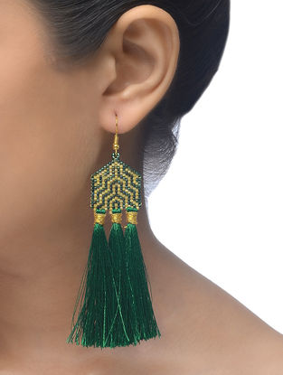 Green-Golden Glass Beaded Earrings with Tassels