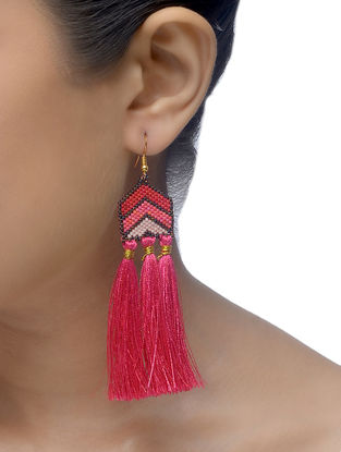 Pink Glass Beaded Earrings with Tassels