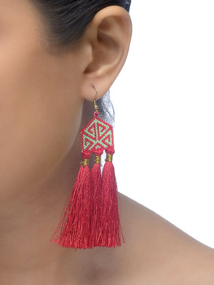 Red-Green Glass Beaded Earrings with Tassels