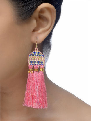 Pink-Blue Glass Beaded Earrings with Tassels