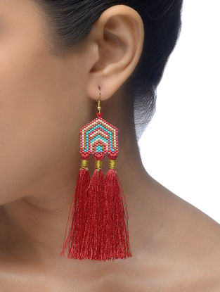 Blue-Red Glass Beaded Earrings with Tassels