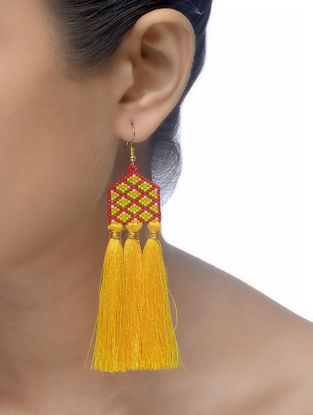 Yellow-Green Glass Beaded Earrings with Tassels