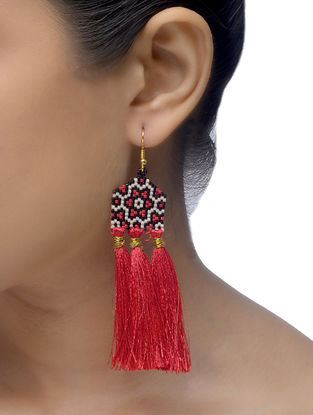 Red-Black Glass Beaded Earrings with Tassels