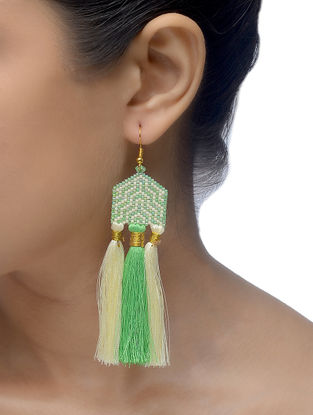 Cream-Green Glass Beaded Earrings with Tassels