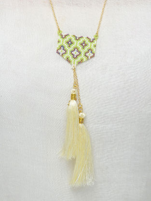 Cream-Green Glass Beaded Necklace with Tassels