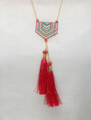 Red-Blue Glass Beaded Necklace with Tassels