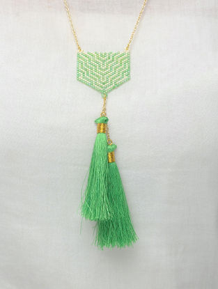 Pink-Blue Glass Beaded Necklace with Tassels
