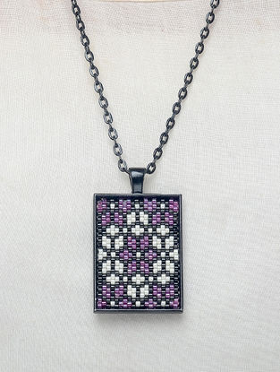 Purple-White Enamelled Glass Beaded Necklace