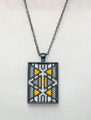 Yellow-Grey Enamelled Glass Beaded Necklace