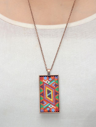 White-BrownGlass Beaded Necklace
