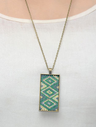 Green-Blue Glass Beaded Necklace