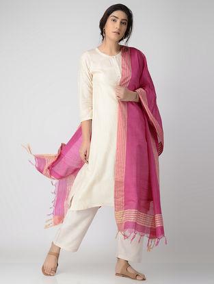Pink-Beige Bhagalpuri Cotton Silk Dupatta