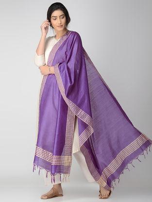 Purple-Beige Bhagalpuri Cotton Silk Dupatta