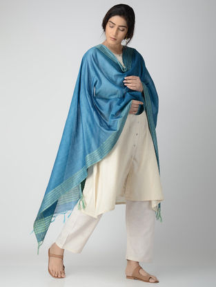Blue Bhagalpuri Cotton Silk Dupatta