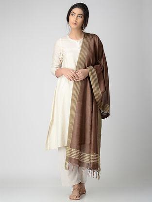 Brown-Beige Bhagalpuri Cotton Silk Dupatta