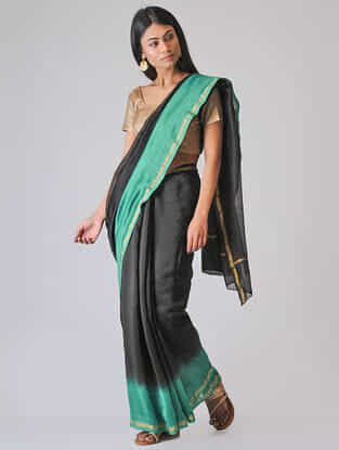 Black-Green Ombre-dyed Chanderi Saree with Zari Border