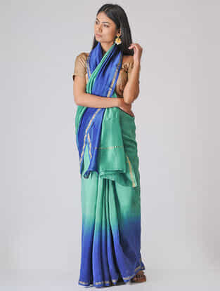 Blue-Green Ombre-dyed Chanderi Saree with Zari Border