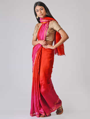 Red-Pink Ombre-dyed Chanderi Saree with Zari Border