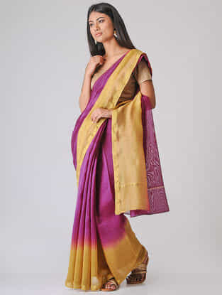 Purple-Beige Ombre-dyed Chanderi Saree with Zari Border