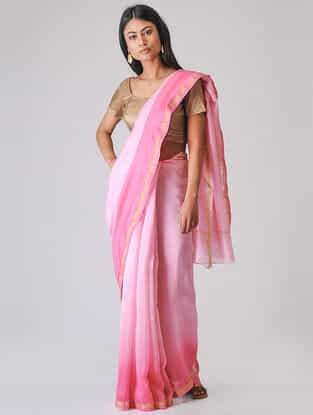 Pink Ombre-dyed Chanderi Saree with Zari Border