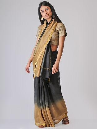 Black-Beige Ombre-dyed Chanderi Saree with Zari Border