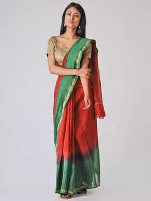 Red-Green Ombre-dyed Chanderi Saree with Zari Border