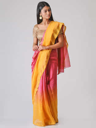 Pink-Yellow Ombre-dyed Chanderi Saree with Zari Border
