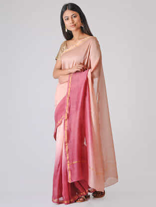 Peach-Pink Ombre-dyed Chanderi Saree with Zari Border