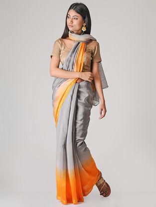 Grey-Orange Ombre-dyed Chanderi Saree with Zari Border