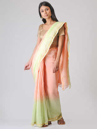 Pink-Green Ombre-dyed Chanderi Saree with Zari Border